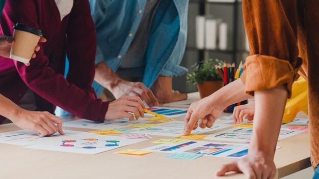 equipe realizando etapa do Design Thinking